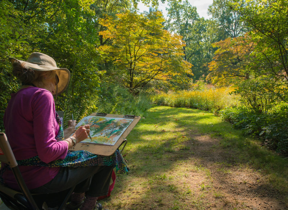 Watercolor painting in the gardens.