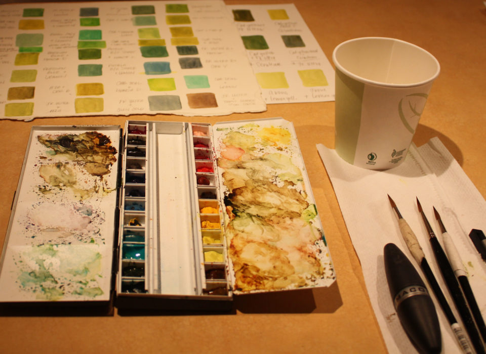 watercolor paints and tools