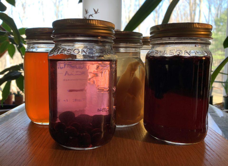Infused vodka in mason jars