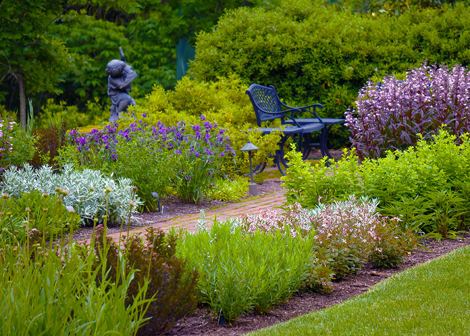 View of the South Garden at Mt. Cuba Center in Spring.