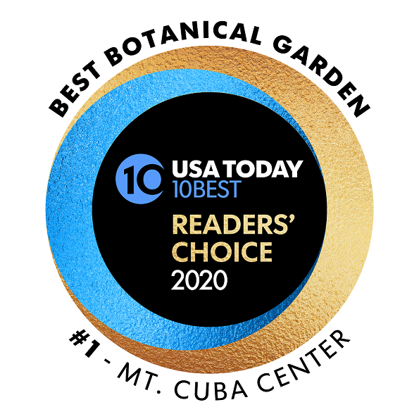 USA Today 10Best Reader's Choice Awards 2020 Best Botanical Garden #1 Mt. Cuba Center logo