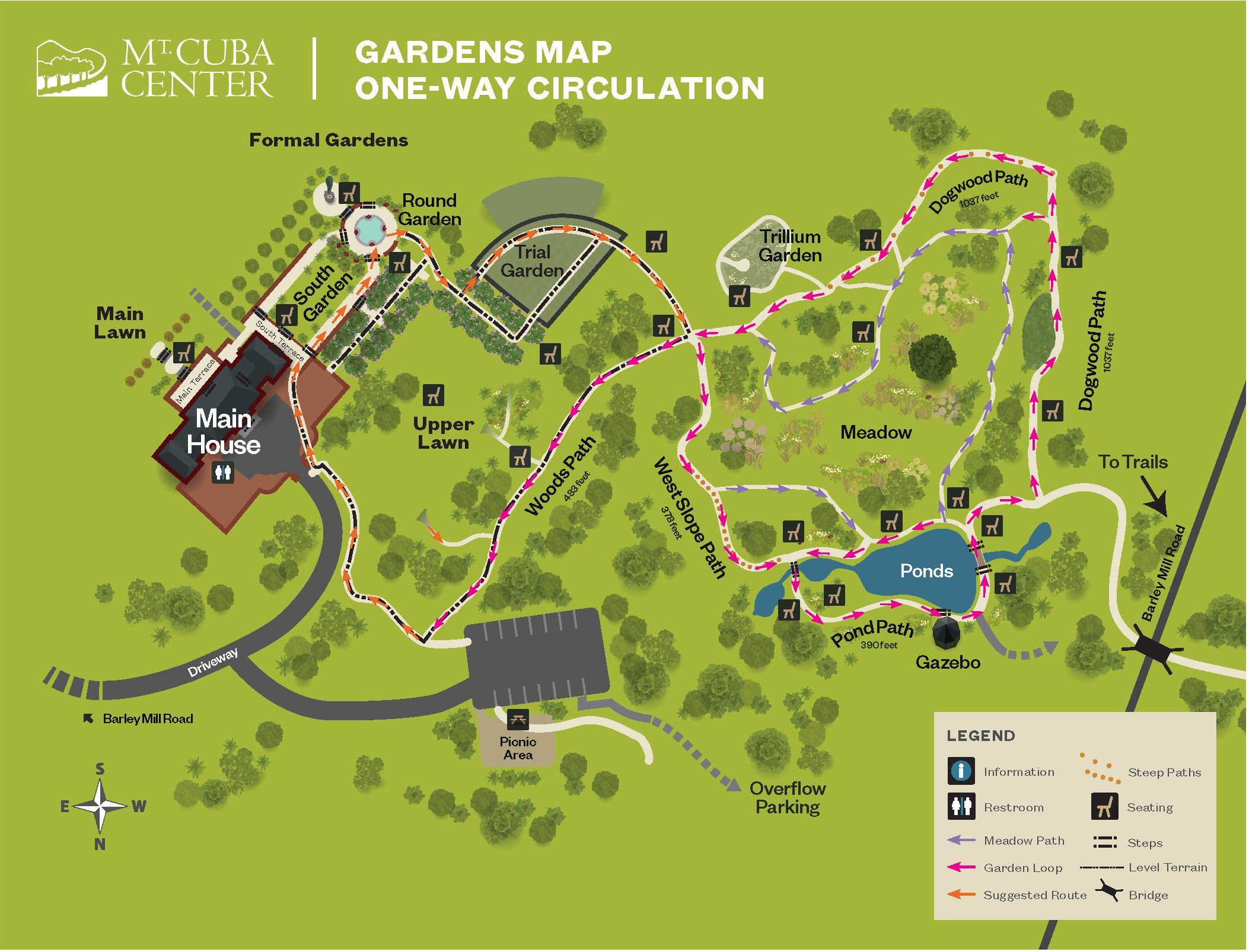 Mt. Cuba Center one-way circulation map of Gardens and Trails.