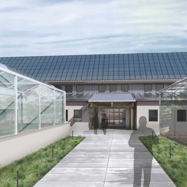 Rendering of the soon to be built front entry at Mt. Cuba Center