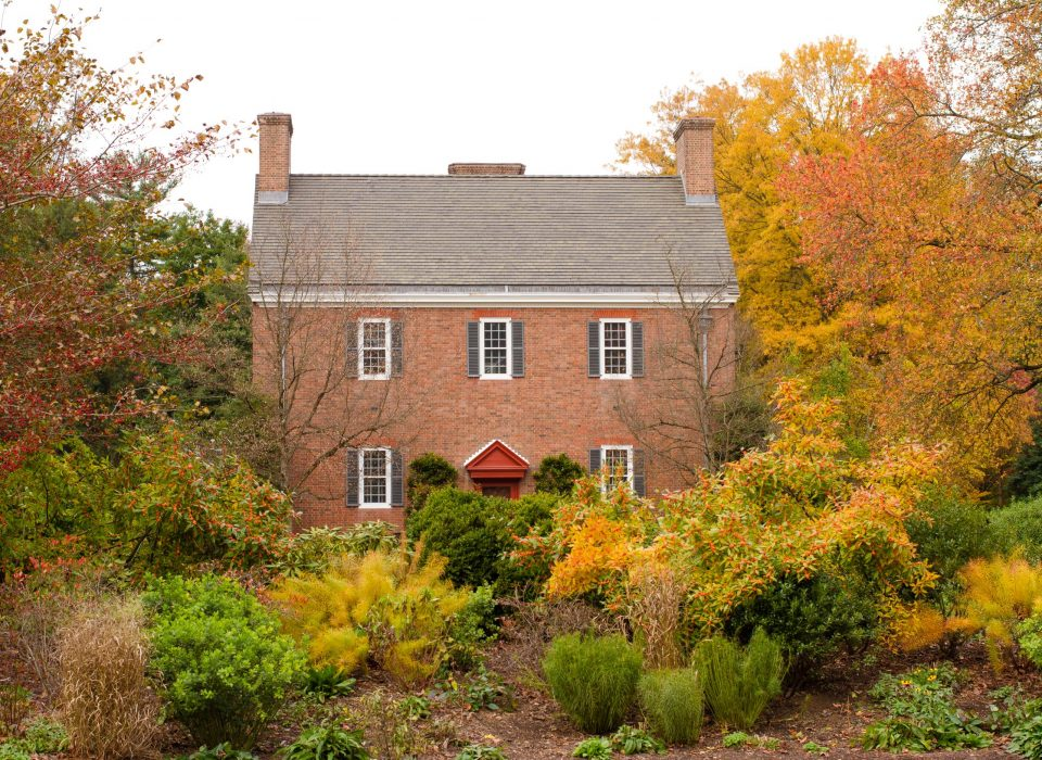 Brick main house at Mt. Cuba surrounded by fall trees in yellows, reds, and oranges.