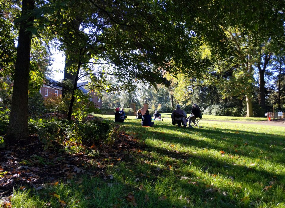 A group of people sit in the grass beneath a tree in the morning light.