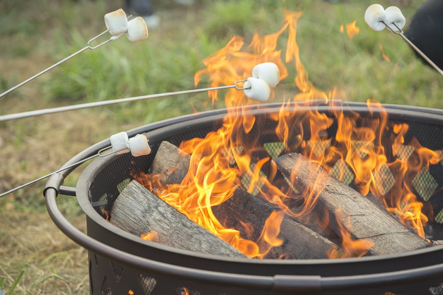 Marshmellows roasting on an open fire in the natural lands